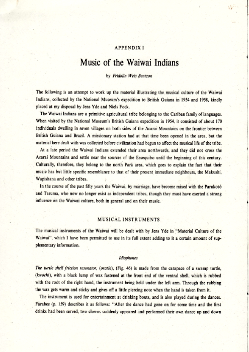 Music of the Waiwai Indians